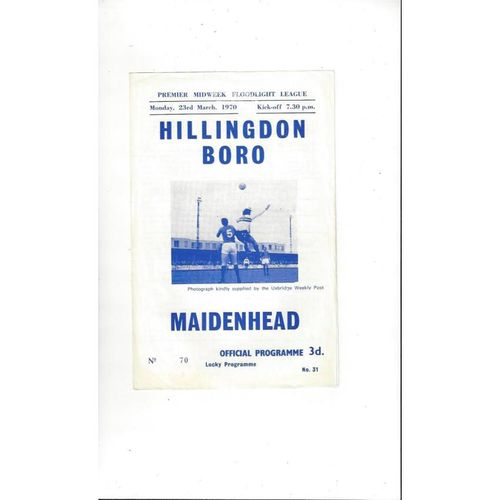 1969/70 Hillingdon Borough v Maidenhead Football Programme