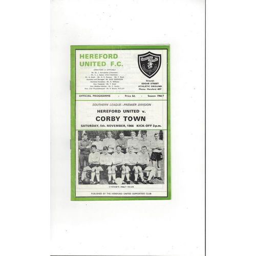 1966/67 Hereford United v Corby Town Football Programme