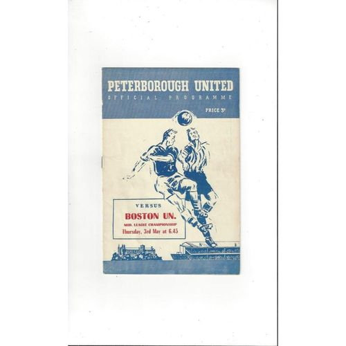 1955/56 Peterborough United v Boston United Football Programme