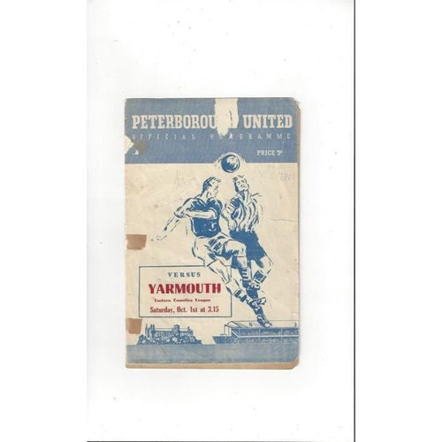 1955/56 Peterborough United v Yarmouth Football Programme