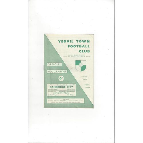1964/65 Yeovil Town v Cambridge City Football Programme