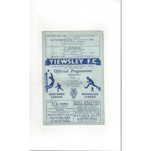 1960/61 Yiewsley v Margate Football Programme