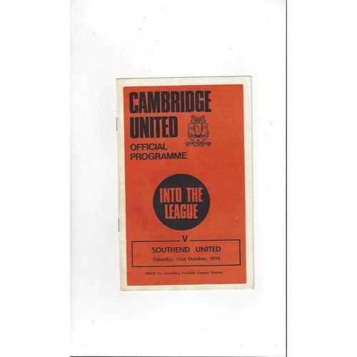 1970/71 Cambridge United v Southend United Football Programme