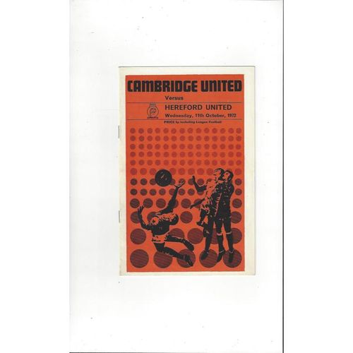 1972/73 Cambridge United v Hereford United Football Programme