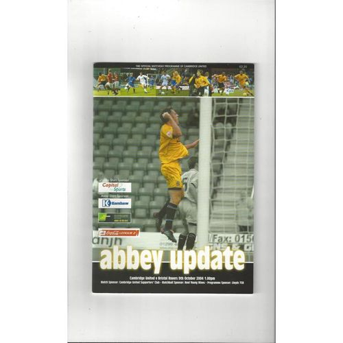 2004/05 Cambridge United v Bristol Rovers Football Programme