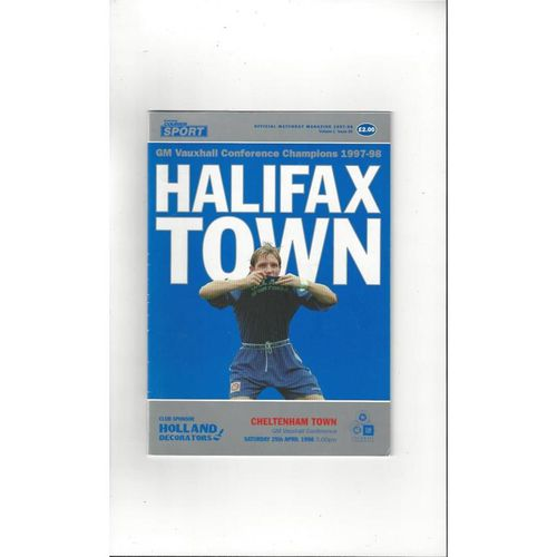 1997/98 Halifax Town v Cheltenham Town Football Programme