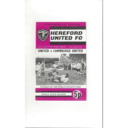 1972/73 Hereford United v Cambridge United Football Programme