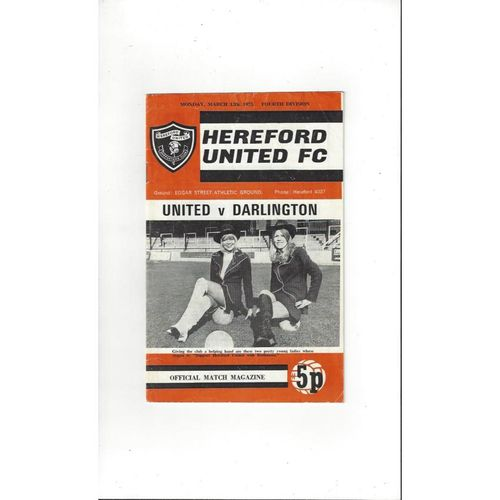 1972/73 Hereford United v Darlington Football Programme