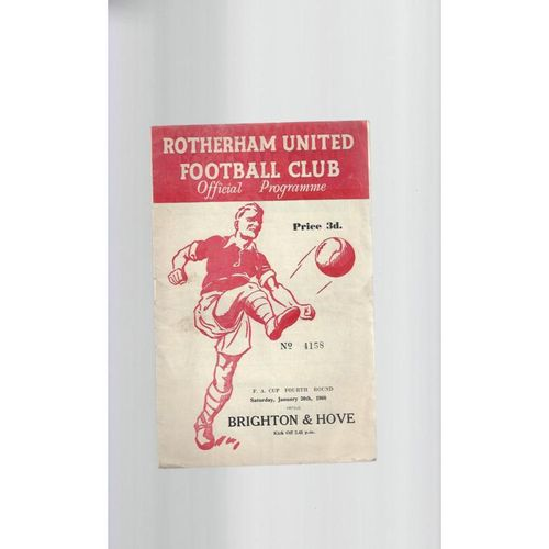 1959/60 Rotherham United v Brighton FA Cup Football Programme