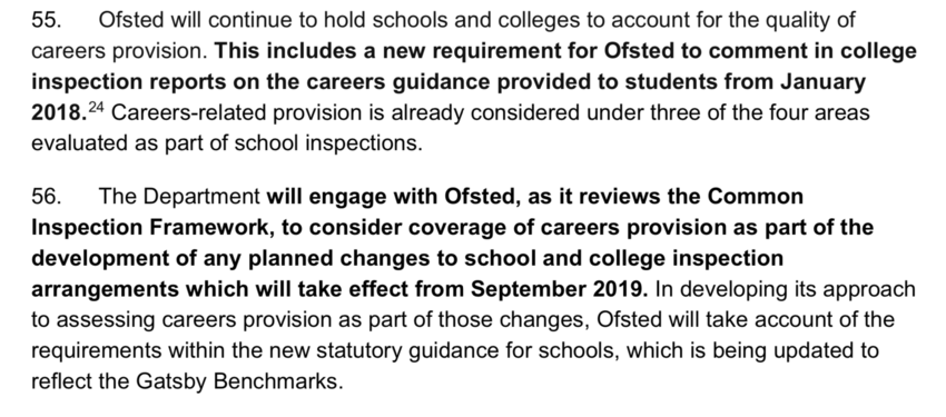 Careers Education Consultant, Ofsted Inspection Careers, Statutory Guidance Careers