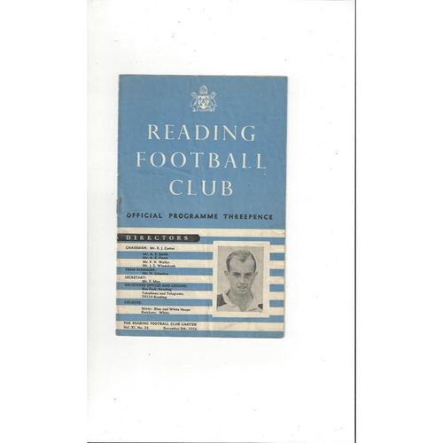 1956/57 Reading v Bedford Town FA Cup Football Programme