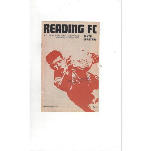 1971/72 Reading v Blyth Spartens FA Cup Replay Football Programme