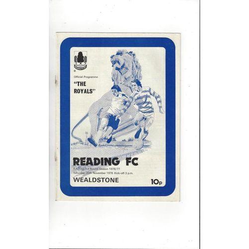 1976/77 Reading v Wealdstone FA Cup Football Programme