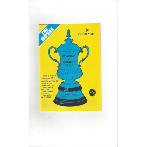 1984/85 Reading v Bognor Regis FA Cup Football Programme