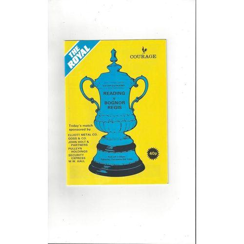 Reading v Bognor Regis FA Cup Football Programme 1984/85
