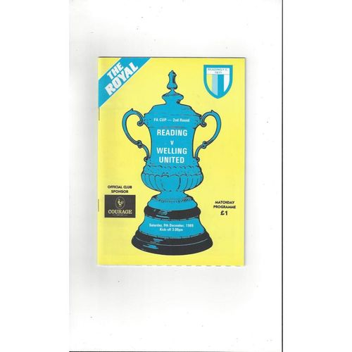 Reading v Welling United FA Cup Football Programme 1989/90