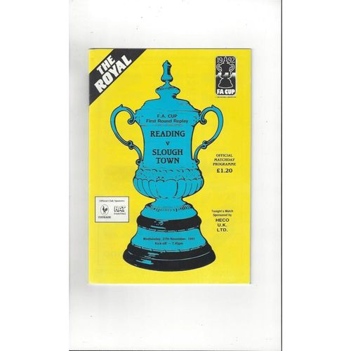 1991/92 Reading v Slough Town FA Cup Football Programme