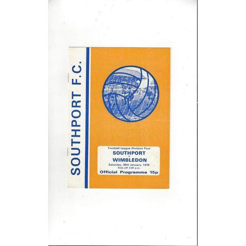 1977/78 Southport v Wimbledon Football Programme