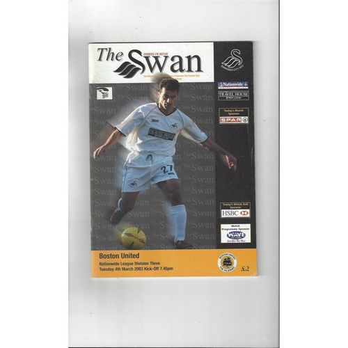2002/03 Swansea v Boston United Football Programme