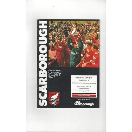 1987/88 Scarborough v Wolves Football Programme