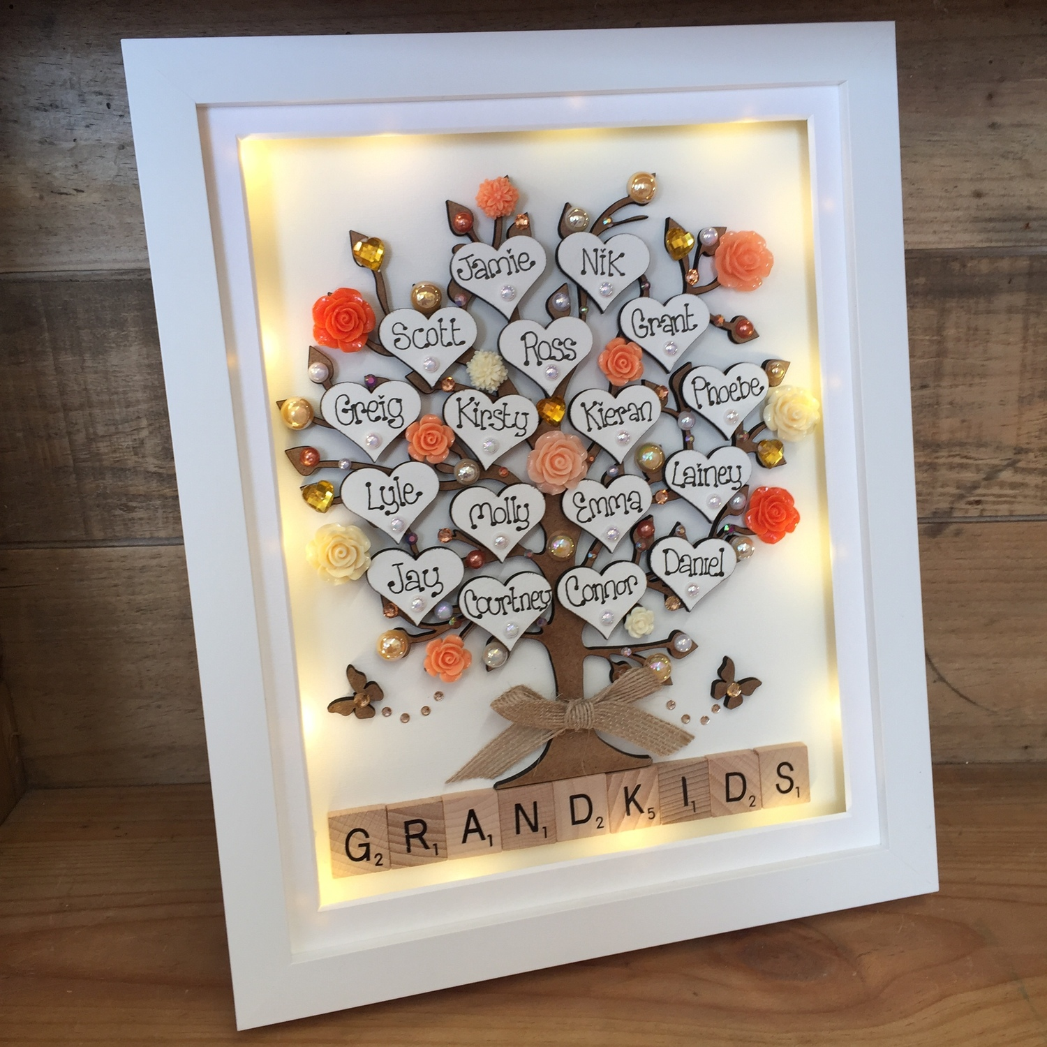 Large Led Autumn Flowers Family Tree Frame Crafty Monkey