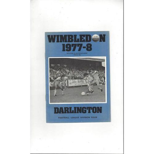 1977/78 Wimbledon v Darlington Football Programme