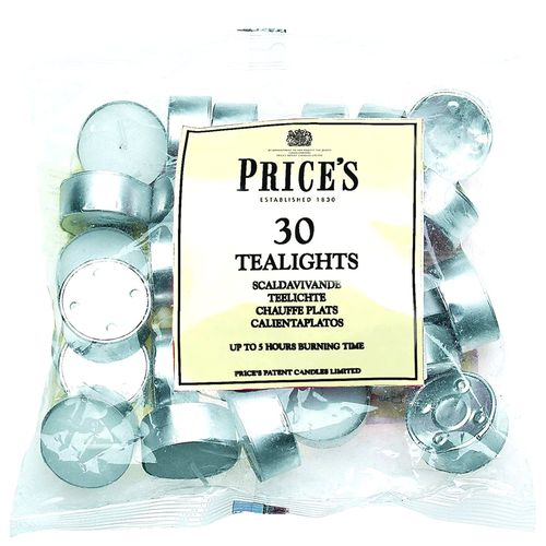 Prices White Tealights 30 Bag