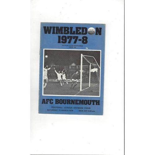 1977/78 Wimbledon v Bournemouth Football Programme