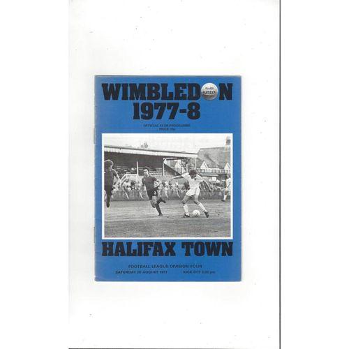Wimbledon Home Football Programmes