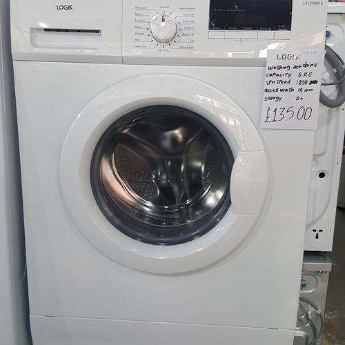 LOGIK L612WM16 Washing Machine - White Copy
