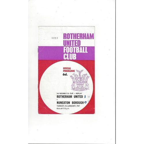 1966/67 Rotherham United v Nuneaton Borough FA Cup Replay Football Programme