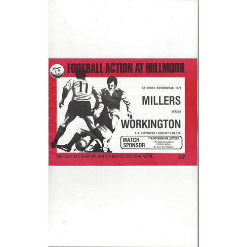 1978/79 Rotherham United v Workington FA Cup Football Programme