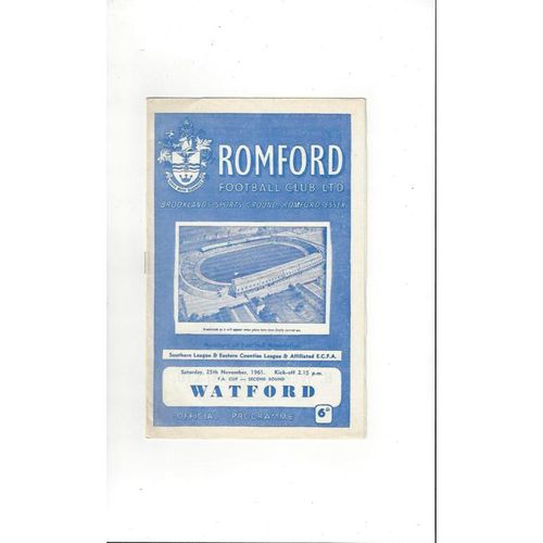 1961/62 Romford v Watford FA Cup Football Programme