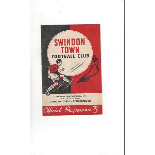 1955/56 Swindon Town v Peterborough United FA Cup Football Programme