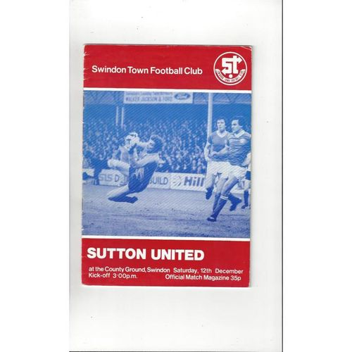 1981/82 Swindon Town v Sutton United FA Cup Football Programme