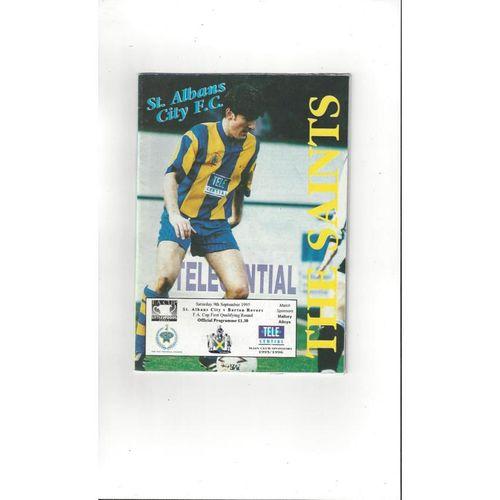 St Albans v Barton Rovers  FA Cup Football Programme 1995/96