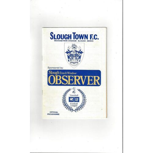 Slough Town v Uxbridge FA Cup Football Programme 1989/90
