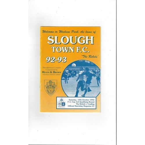 1992/93 Slough Town v Yeading FA Cup Football Programme
