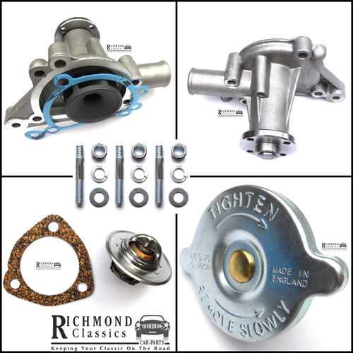 Classic Mini Water Pump GWP187 NO BYPASS FACILITY, Radiator Cap, Thermostat Kit