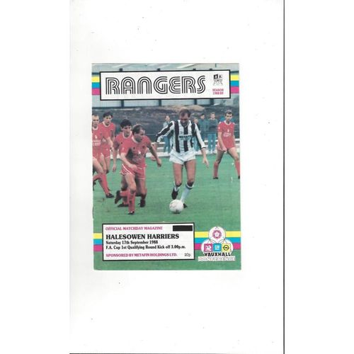 1988/89 Stafford Rangers v Halesowen Harriers FA Cup Football Programme