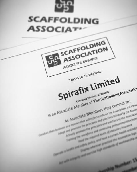 Spirafix sign up to Scaffolding Association