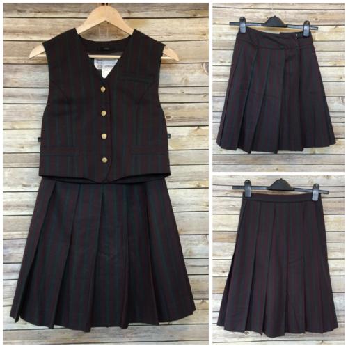 """Waist 60cm/23.6"""", 2 skirts + gilet set for school girl"""