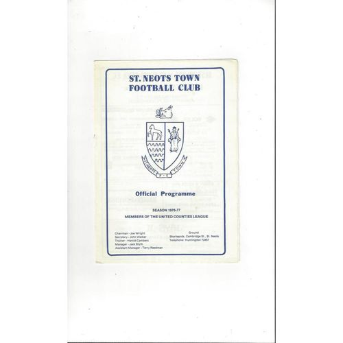 1976/77 St. Neots Town v Stowmarket FA Cup Football Programme