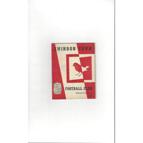 1963/64 Swindon Town v Derby County Football Programme