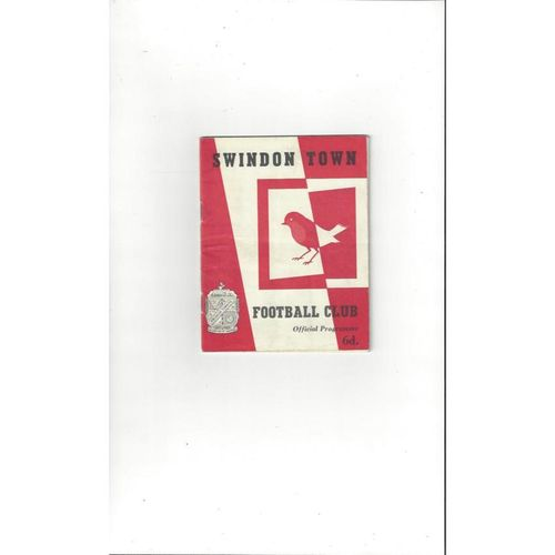 1964/65 Swindon Town v Crystal Palace Football Programme