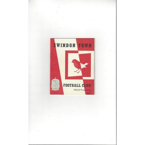 1964/65 Swindon Town v Derby County Football Programme