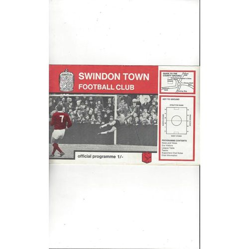 1968/69 Swindon Town v Barnsley Football Programme