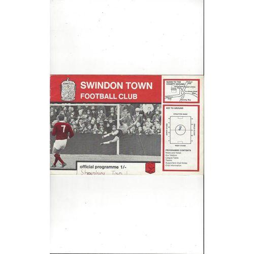 1968/69 Swindon Town v Shrewsbury Town Football Programme