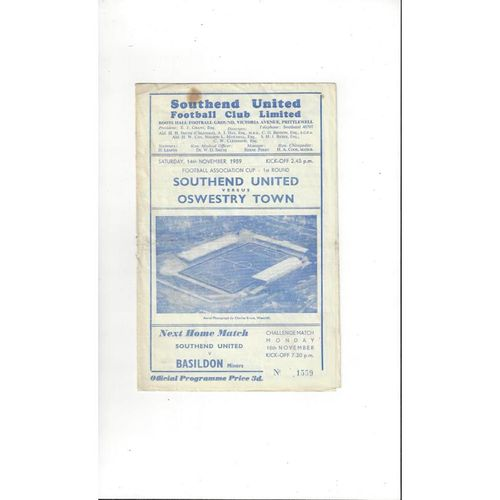 Southend United v Oswestry Town FA Cup Football Programme 1959/60