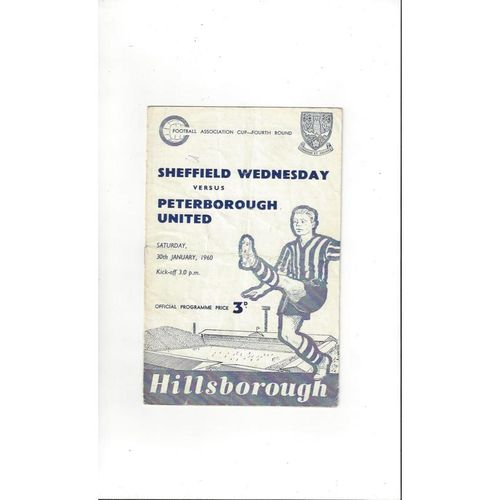 Sheffield Wednesday v Peterborough United FA Cup Football Programme 1959/60